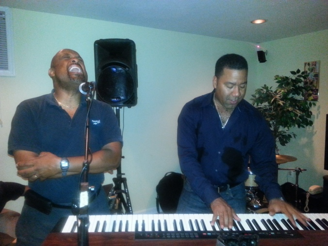 Dr. Willie Jolley performing with Marcus Johnson